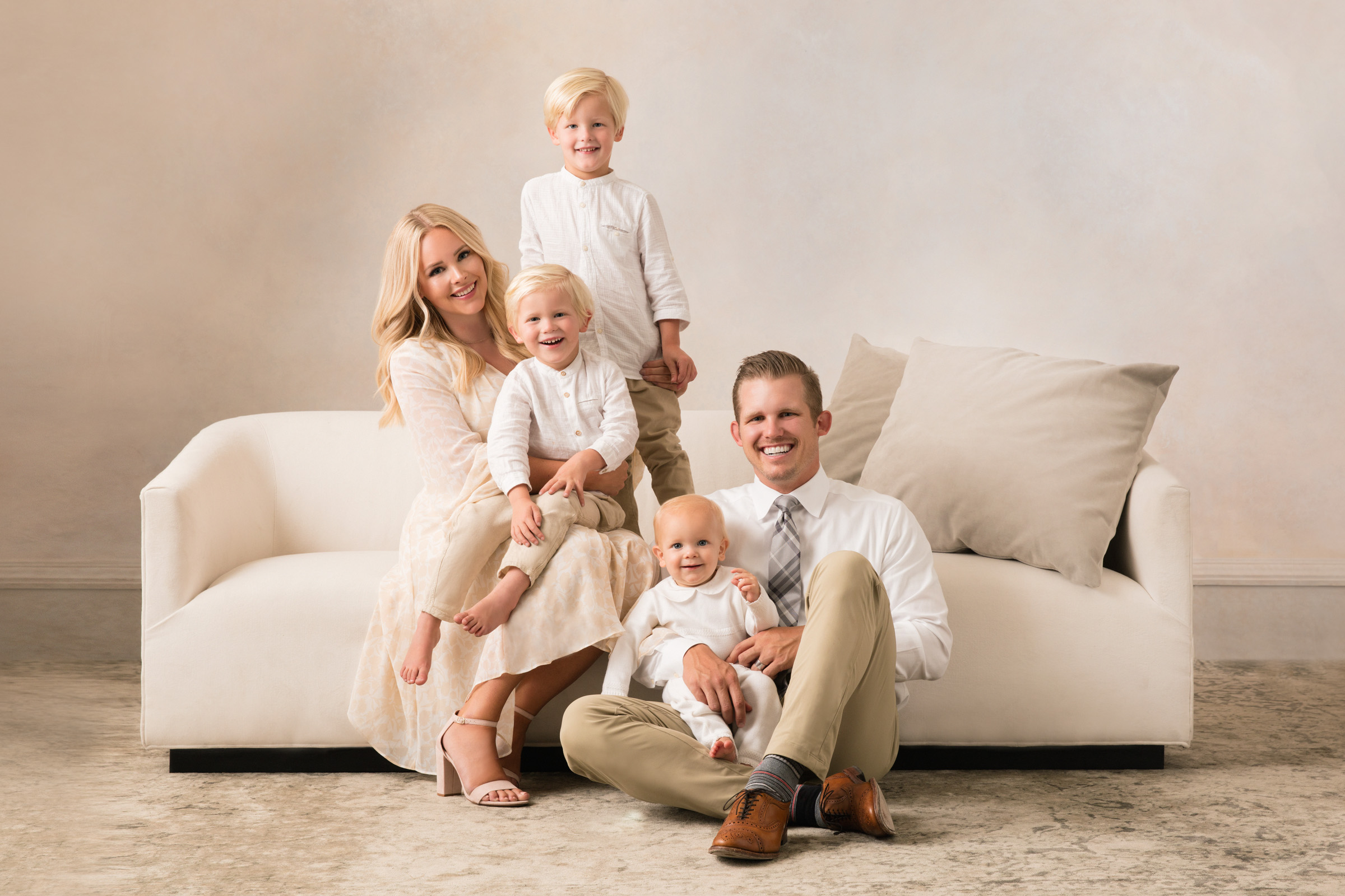 portrait casual family in white