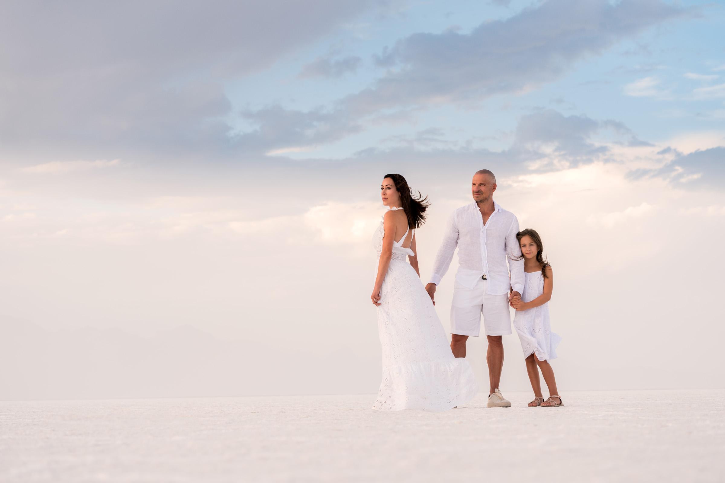 portrait family salt flats