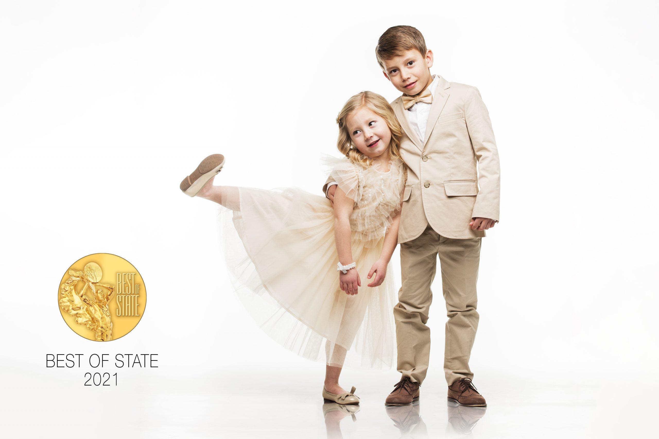 children siblings portrait fun